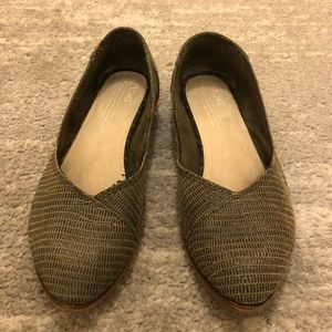 Toms Olive Green Pointed Toe Flats